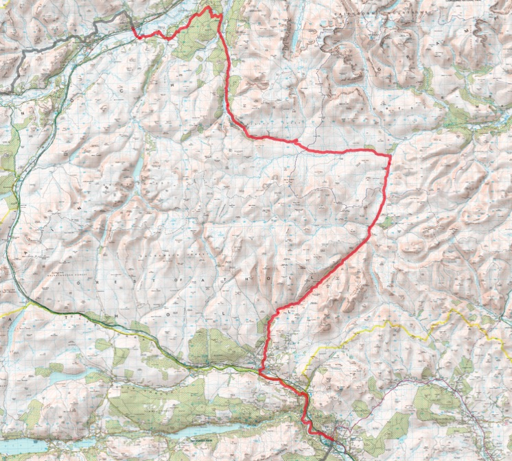 Map - Pitlochry to Kingussie